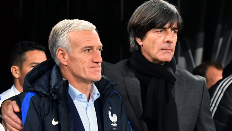 France's coach Didier Deschamps (L) and Germany's head coach Joachim Loew arrive for the international friendly football match Germany against France in Cologne on November 14, 2017. / AFP PHOTO / John MACDOUGALL        (Photo credit should read JOHN MACDOUGALL/AFP/Getty Images)