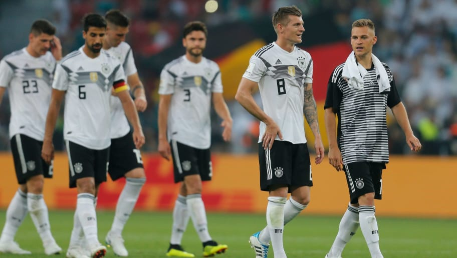 Germany's players walk over the pitch after the international friendly football match between Germany and Saudi Arabia at the BayArena stadium in Leverkusen, western Germany, on June 8, 2018. (Photo by LEON KUEGELER / AFP)        (Photo credit should read LEON KUEGELER/AFP/Getty Images)