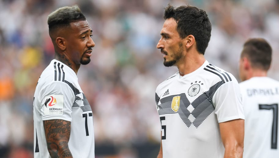 Germany's defender Mats Hummels and Germany's defender Jerome Boateng react during the international friendly football match between Germany and Saudi Arabia at the BayArena stadium in Leverkusen, western Germany, on June 8, 2018. (Photo by Patrik STOLLARZ / AFP)        (Photo credit should read PATRIK STOLLARZ/AFP/Getty Images)
