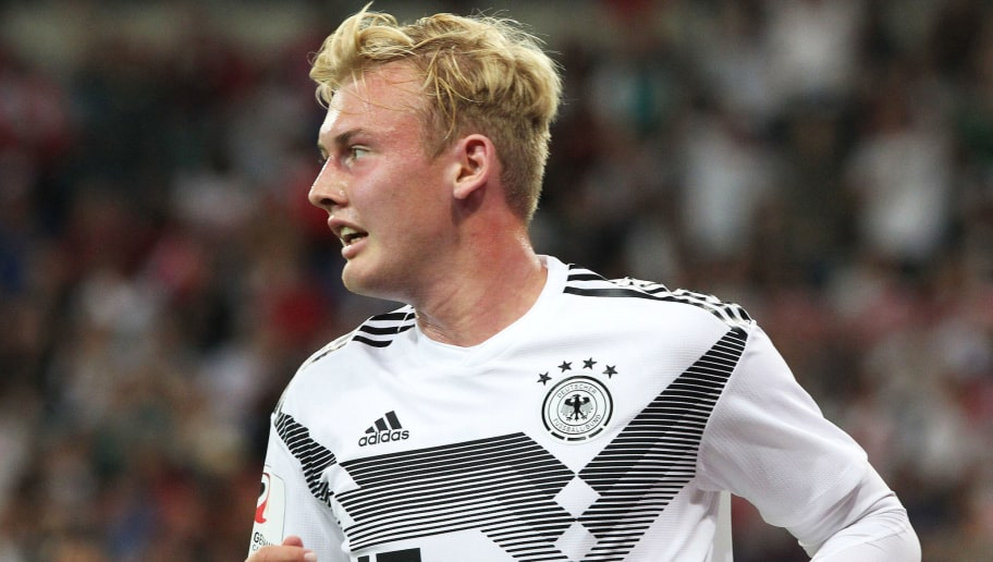 Germany's Julian Brandt celebrates scoring the 1-1 during the international friendly football match Germany versus Peru on September 9, 2018, at the Rhein-Neckar-Arena in Sinsheim, southwestern Germany. (Photo by Daniel ROLAND / AFP) / DFB REGULATIONS PROHIBIT ANY USE OF PHOTOGRAPHS AS IMAGE SEQUENCES AND QUASI-VIDEO.        (Photo credit should read DANIEL ROLAND/AFP/Getty Images)