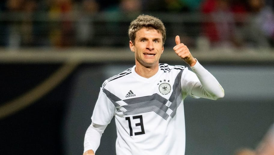 Germany's forward Thomas Mueller gestures during the international friendly football match Germany v Russia in Leipzig, eastern Germany on November 15, 2018. (Photo by ROBERT MICHAEL / AFP)        (Photo credit should read ROBERT MICHAEL/AFP/Getty Images)