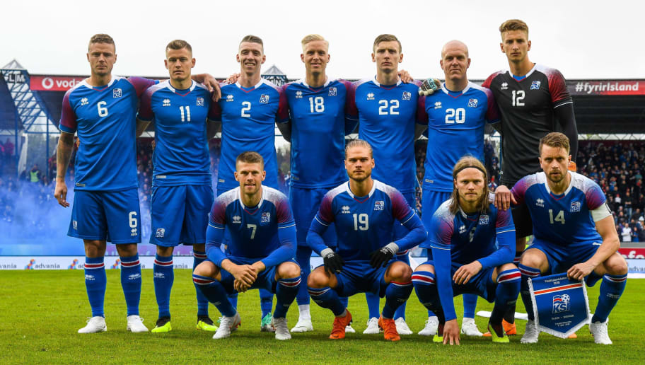 (Back row, From L) Iceland's defender Ragnar Sigurdsson, Iceland's forward Alfred Finnbogason, Iceland's defender Birkir Saevarsson, Iceland's defender Hordur Bjorgvin Magnusson, Iceland's forward Jon Dadi Bodvarsson and Iceland's goalkeeper Frederik Schram (Front row, From L) Iceland's midfielder Johann Berg Gudmundsson, Iceland's midfielder Rurik Gislason, Iceland's midfielder Birkir Bjarnason and Iceland's defender Kari Arnason pose for the team photo prior to the international friendly football match Iceland v Norway in Reykjavik, Iceland on June 2, 2018. (Photo by Haraldur Gudjonsson / AFP)        (Photo credit should read HARALDUR GUDJONSSON/AFP/Getty Images)