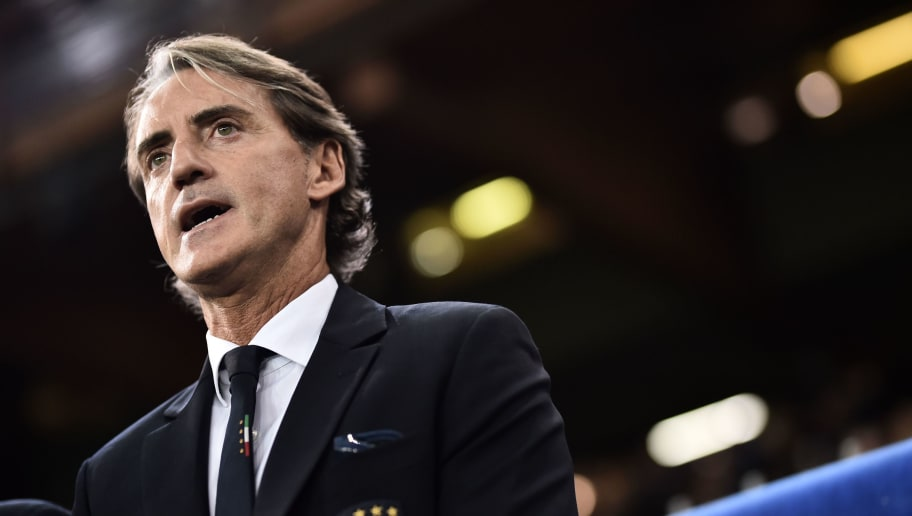 Italy's head coach Roberto Mancini is pictured prior to the friendly football match Italy vs Ukraine on October 10, 2018 at the Luigi-Ferraris stadium in Genoa. (Photo by Marco BERTORELLO / AFP)        (Photo credit should read MARCO BERTORELLO/AFP/Getty Images)