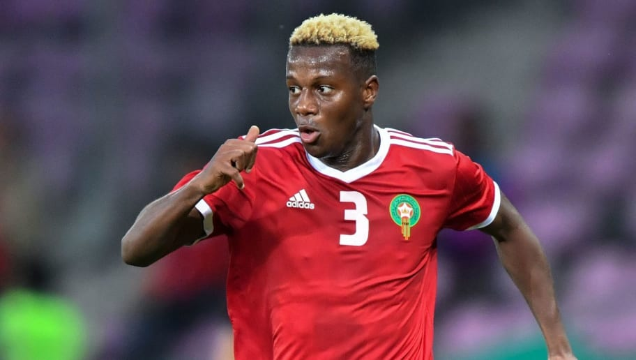 Morocco's defender Hamza Mendyl controls the ball during the friendly football match between Morocco and Ukraine at the Stade de Geneve stadium in Geneva on May 31, 2018. (Photo by Fabrice COFFRINI / AFP)        (Photo credit should read FABRICE COFFRINI/AFP/Getty Images)