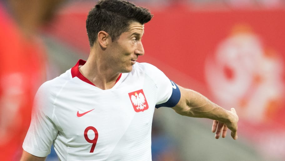 Poland's Robert Lewandowski gestures during the international friendly football match between Poland and Chile at the Arena Poznan stadium in Poznan, Poland, on June 8, 2018. (Photo by ANDRZEJ IWANCZUK / AFP)        (Photo credit should read ANDRZEJ IWANCZUK/AFP/Getty Images)