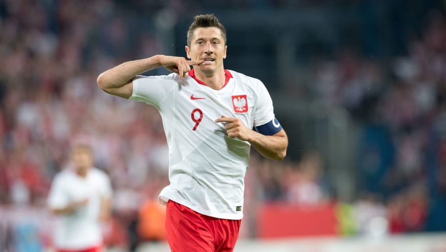 Poland's Robert Lewandowski reacts during the international friendly football match between Poland and Chile at the Arena Poznan stadium in Poznan, Poland, on June 8, 2018. (Photo by ANDRZEJ IWANCZUK / AFP)        (Photo credit should read ANDRZEJ IWANCZUK/AFP/Getty Images)