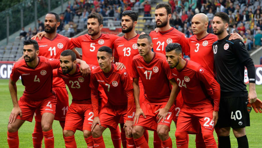 Tunisia's squad (back L-R) forward Saber Khalifa, defender Oussama Haddadi, midfielder Ferjani Sassi, defender Hamdi Nagguez, defender Yohan Benalouane, goalkeeper Mouez Hassen, (L-R) defender Yassine Meriah, midfielder Naim Sliti, midfielder Saifeddine Khaoui, midfielder Elyes Skhiri and forward Anice Badri pose for a group picture before an international friendly football match between Portugal and Tunisia at the Municipal Stadium in Braga on May 28, 2018. (Photo by MIGUEL RIOPA / AFP)        (Photo credit should read MIGUEL RIOPA/AFP/Getty Images)