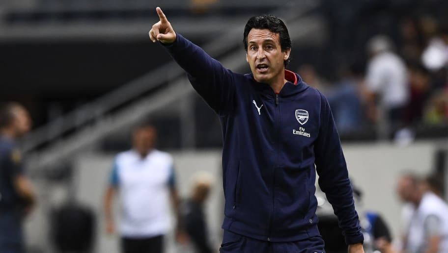 Arsenal's coach Unai Emery reacts during the friendly football match between Arsenal and Lazio in Solna, Sweden on August 4, 2018. (Photo by Jonathan NACKSTRAND / AFP)        (Photo credit should read JONATHAN NACKSTRAND/AFP/Getty Images)