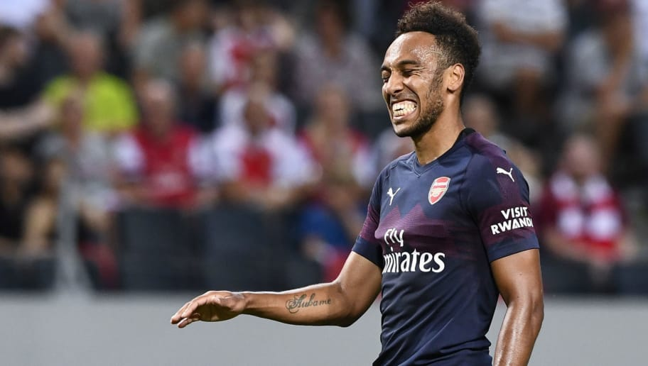 Arsenal's Gabonese striker Pierre-Emerick Aubameyang reacts during the friendly football match between Arsenal and Lazio in Solna, Sweden on August 4, 2018. (Photo by Jonathan NACKSTRAND / AFP)        (Photo credit should read JONATHAN NACKSTRAND/AFP/Getty Images)