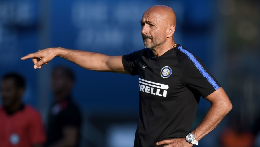 Inter Milan's head coach Luciano Spalletti reacts during the friendly football match between FC Sion and Inter Milan at Tourbillon Stadium in Sion on July 18, 2018. (Photo by Fabrice COFFRINI / AFP)        (Photo credit should read FABRICE COFFRINI/AFP/Getty Images)