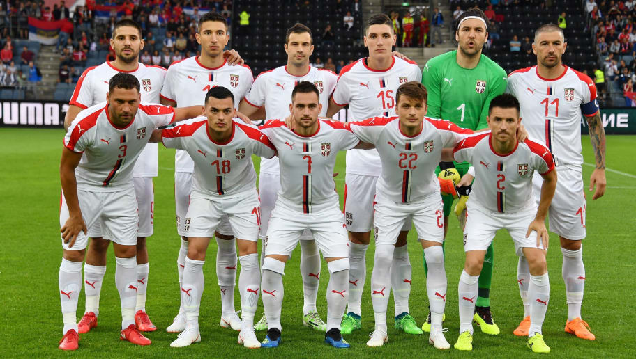 Serbian players pose for the team photo prior to the international friendly football match Serbia v Chile at the Merkur Arena in Graz, Austria on June 4, 2018. (Photo by JOE KLAMAR / AFP)        (Photo credit should read JOE KLAMAR/AFP/Getty Images)