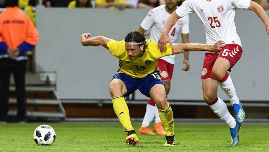 Sweden's midfielder Gustav Svensson (L) vies with Denmark's forward Kasper Dolberg during the international friendly footbal match Sweden v Denmark in Solna, Sweden on June 2, 2018. (Photo by Jonathan NACKSTRAND / AFP)        (Photo credit should read JONATHAN NACKSTRAND/AFP/Getty Images)
