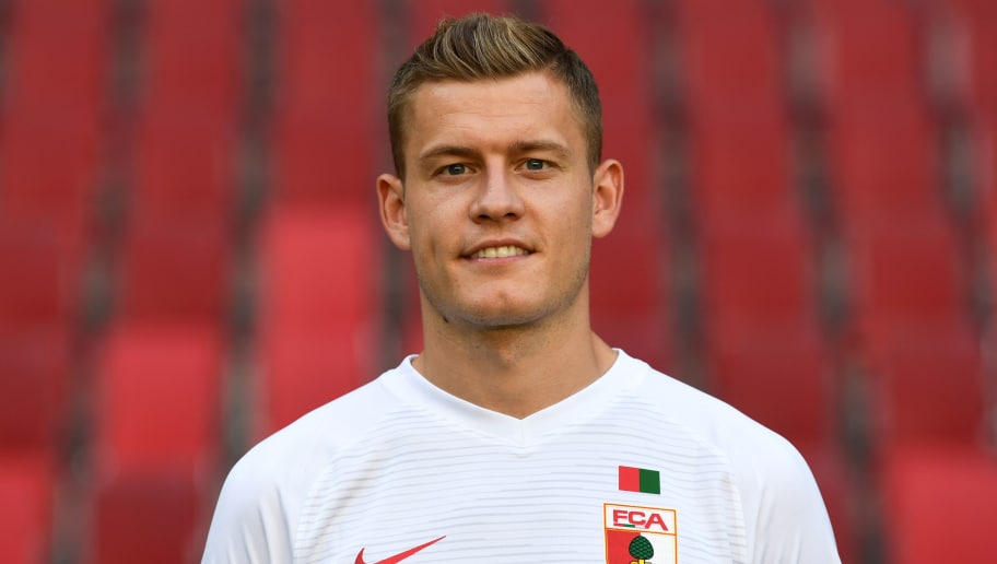 Augsburg's Icelandic Alfred Finnbogason poses during the presentation of the football team of the German first division Bundesliga club FC Augsburg 1907 in the stadium in Augsburg, southern Germany, on August 9, 2018. (Photo by Christof STACHE / AFP)        (Photo credit should read CHRISTOF STACHE/AFP/Getty Images)