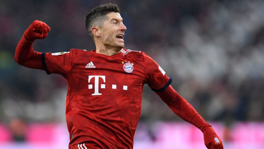 Bayern Munich's Polish striker Robert Lewandowski reacts during the German first division Bundesliga football match Bayern Munich vs RB Leipzig in Munich, southern Germany, on December 19, 2018. (Photo by Christof STACHE / AFP) / DFL REGULATIONS PROHIBIT ANY USE OF PHOTOGRAPHS AS IMAGE SEQUENCES AND/OR QUASI-VIDEO        (Photo credit should read CHRISTOF STACHE/AFP/Getty Images)