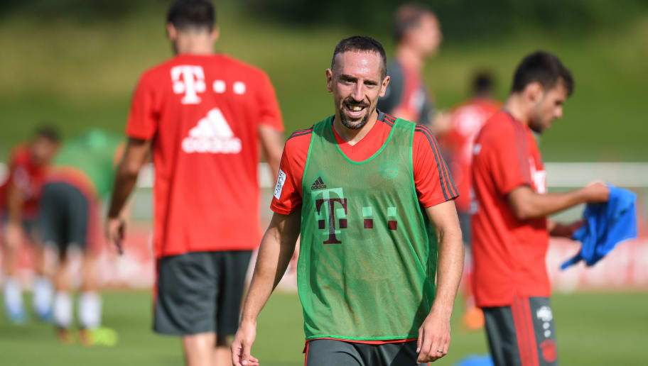Bayern Munich's French midfielder Franck Ribery attends a trainings session at the FC Bayern Munich trainings ground in Munich, southern Germany, on July 4, 2018. (Photo by Christof STACHE / AFP)        (Photo credit should read CHRISTOF STACHE/AFP/Getty Images)