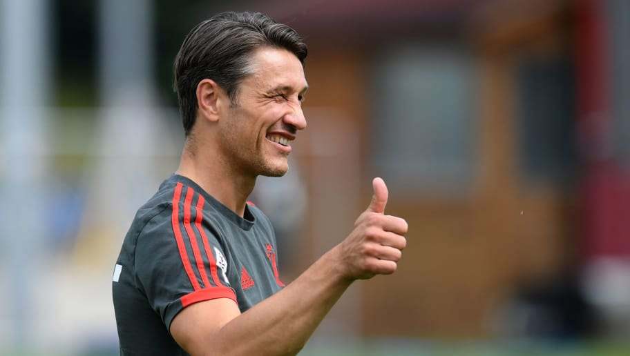 Bayern Munich's Croatian new head coach Niko Kovac reacts prior the trainings session at the FC Bayern Munich trainings ground in Munich, southern Germany, on July 4, 2018. (Photo by Christof STACHE / AFP)        (Photo credit should read CHRISTOF STACHE/AFP/Getty Images)