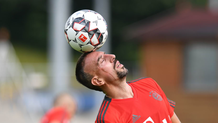 French midfielder Franck Ribery juggles with the ball during a trainings session at the FC Bayern Munich trainings ground in Munich, southern Germany, on July 4, 2018. (Photo by Christof STACHE / AFP)        (Photo credit should read CHRISTOF STACHE/AFP/Getty Images)