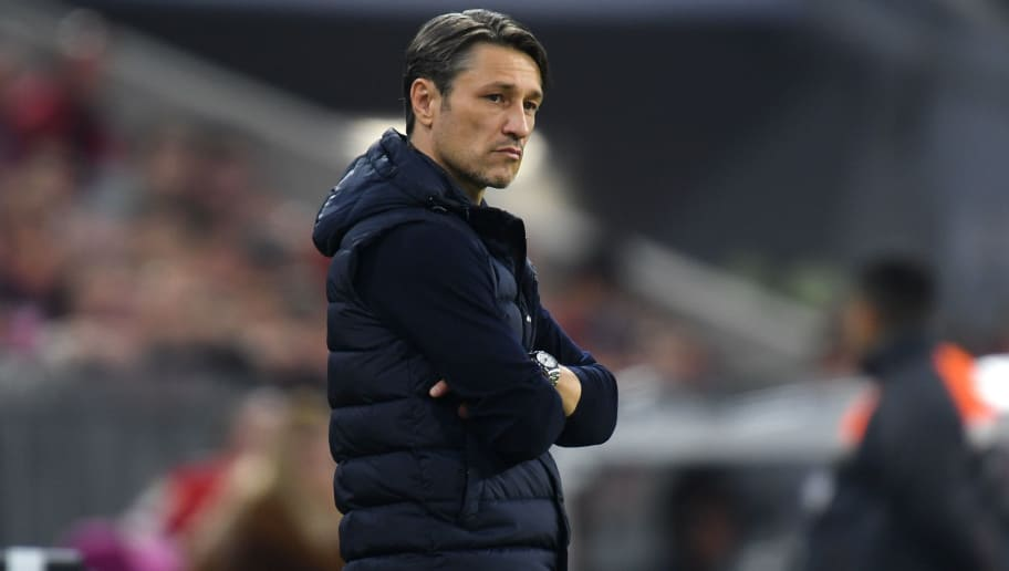 Bayern Munich's Croatian headcoach Niko Kovac reacts on the pitch during the German first division Bundesliga football match FC Bayern Munich vs Borussia Moenchengladbach in Munich, southern Germany, on October 6, 2018. (Photo by Christof STACHE / AFP) / RESTRICTIONS: DFL REGULATIONS PROHIBIT ANY USE OF PHOTOGRAPHS AS IMAGE SEQUENCES AND/OR QUASI-VIDEO        (Photo credit should read CHRISTOF STACHE/AFP/Getty Images)