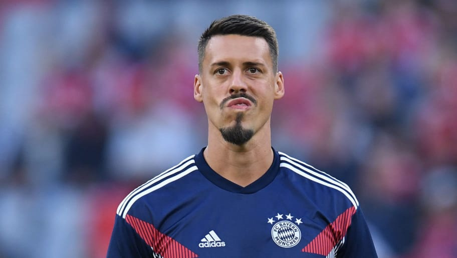 Bayern Munich's forward Sandro Wagner reacts during the warm up prior to the German first division Bundesliga football match FC Bayern Munich vs Borussia Moenchengladbach in Munich, southern Germany, on October 6, 2018. (Photo by Christof STACHE / AFP) / RESTRICTIONS: DFL REGULATIONS PROHIBIT ANY USE OF PHOTOGRAPHS AS IMAGE SEQUENCES AND/OR QUASI-VIDEO        (Photo credit should read CHRISTOF STACHE/AFP/Getty Images)