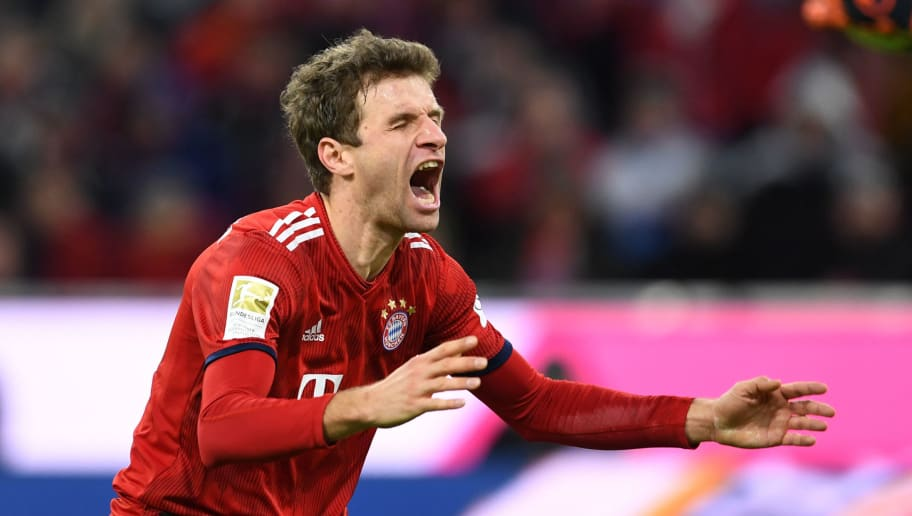 Bayern Munich's striker Thomas Mueller reacts reacts during the German first division Bundesliga football match Bayern Munich vs Nuremberg on December 8, 2018 in Munich. (Photo by Christof STACHE / AFP) / RESTRICTIONS: DFL REGULATIONS PROHIBIT ANY USE OF PHOTOGRAPHS AS IMAGE SEQUENCES AND/OR QUASI-VIDEO        (Photo credit should read CHRISTOF STACHE/AFP/Getty Images)