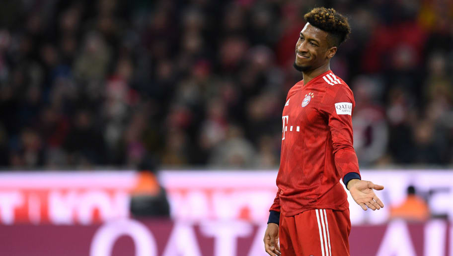Bayern Munich's French defender Kingsley Coman gestures during the German first division Bundesliga football match Bayern Munich vs Nuremberg on December 8, 2018 in Munich. (Photo by Christof STACHE / AFP) / RESTRICTIONS: DFL REGULATIONS PROHIBIT ANY USE OF PHOTOGRAPHS AS IMAGE SEQUENCES AND/OR QUASI-VIDEO        (Photo credit should read CHRISTOF STACHE/AFP/Getty Images)