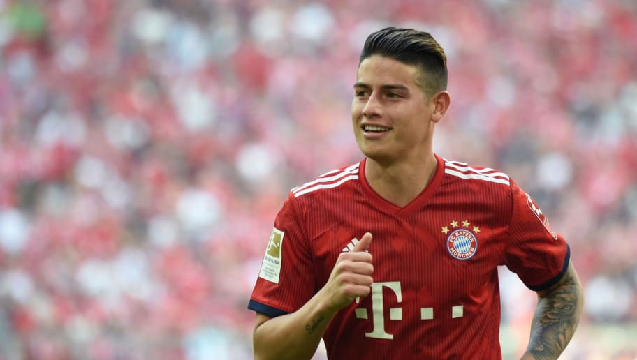 Bayern Munich's Colombian midfielder James Rodriguez runs during  the German first division Bundesliga football match FC Bayern Munich and VfB Stuttgart at the stadium in Munich, on May 12, 2018. (Photo by Christof STACHE / AFP)        (Photo credit should read CHRISTOF STACHE/AFP/Getty Images)