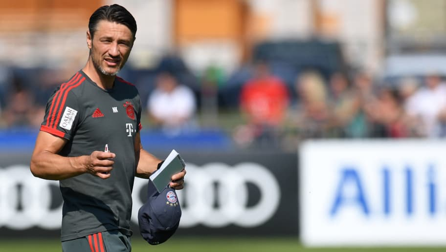 Bayern Munich's Croatian headcoach Niko Kovac walks on a pitch for a team trainings session of the German first division Bundesliga team FC Bayern Munich in the team trainings camp in Rottach-Egern, southern Germany, on August 3, 2018. (Photo by Christof STACHE / AFP)        (Photo credit should read CHRISTOF STACHE/AFP/Getty Images)