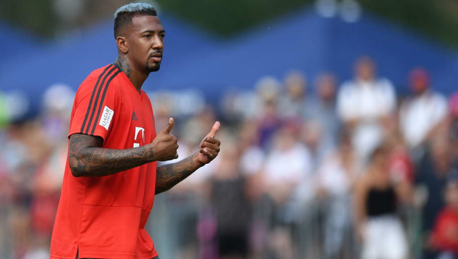 Bayern Munich's defender Jerome Boateng gestures during a team training session of the German first division Bundesliga team FC Bayern Munich in the team training camp in Rottach-Egern, southern Germany, on August 3, 2018. (Photo by Christof STACHE / AFP)        (Photo credit should read CHRISTOF STACHE/AFP/Getty Images)