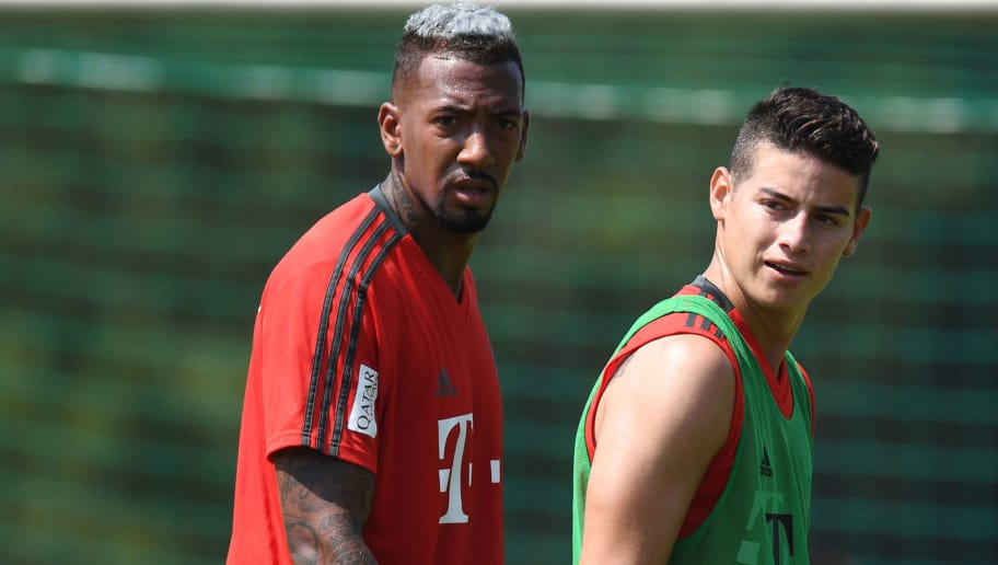 Bayern Munich's defender Jerome Boateng (L) and Bayern Munich's Colombian midfielder James Rodriguez (R) attend a team trainings session of the German first division Bundesliga team FC Bayern Munich in the team trainings camp in Rottach-Egern, southern Germany, on August 6, 2018. (Photo by Christof STACHE / AFP)        (Photo credit should read CHRISTOF STACHE/AFP/Getty Images)
