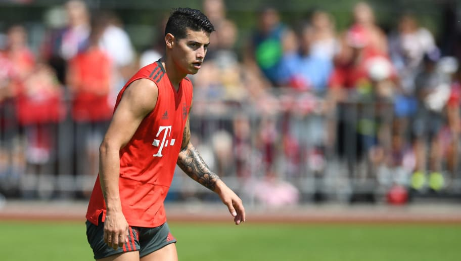 Bayern Munich's Colombian midfielder James Rodriguez attends a team trainings session of the German first division Bundesliga team FC Bayern Munich in the team trainings camp in Rottach-Egern, southern Germany, on August 6, 2018. (Photo by Christof STACHE / AFP)        (Photo credit should read CHRISTOF STACHE/AFP/Getty Images)