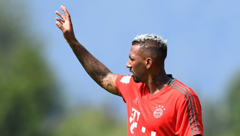 Bayern Munich's defender Jerome Boateng gestures during a team trainings session of the German first division Bundesliga team FC Bayern Munich in the team trainings camp in Rottach-Egern, southern Germany, on August 6, 2018. (Photo by Christof STACHE / AFP)        (Photo credit should read CHRISTOF STACHE/AFP/Getty Images)