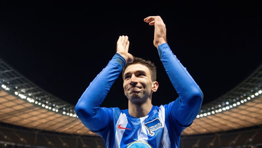 Berlin´s Serbian midfielder Marko Grujic celebrates after winning the German first division Bundesliga football match between Hertha Berlin v Eintracht Frankfurt at the Olympic stadium in Berlin on December 8, 2018. (Photo by ROBERT MICHAEL / AFP) / RESTRICTIONS: DFL REGULATIONS PROHIBIT ANY USE OF PHOTOGRAPHS AS IMAGE SEQUENCES AND/OR QUASI-VIDEO        (Photo credit should read ROBERT MICHAEL/AFP/Getty Images)