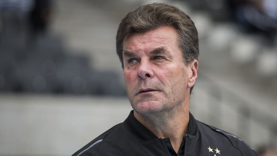 Moenchengladbach's German head coach Dieter Hecking is seen prior the German first division Bundesliga football match Hertha Berlin vs Borussia Moenchengladbach at the Olympic stadium in Berlin on September 22, 2018. (Photo by ODD ANDERSEN / AFP) / DFL REGULATIONS PROHIBIT ANY USE OF PHOTOGRAPHS AS IMAGE SEQUENCES AND/OR QUASI-VIDEO        (Photo credit should read ODD ANDERSEN/AFP/Getty Images)