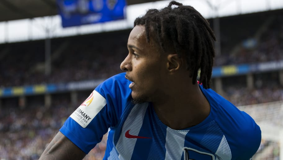 Berlin's Austrian midfielder Valentino Lazaro looks over his shoulder during the German first division Bundesliga football match Hertha Berlin vs Borussia Moenchengladbach at the Olympic stadium in Berlin on September 22, 2018. (Photo by Odd ANDERSEN / AFP) / DFL REGULATIONS PROHIBIT ANY USE OF PHOTOGRAPHS AS IMAGE SEQUENCES AND/OR QUASI-VIDEO        (Photo credit should read ODD ANDERSEN/AFP/Getty Images)