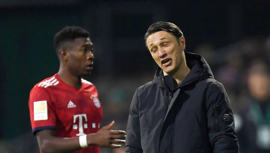Bayern Munich's Croatian coach Niko Kovac (R) reacts during the German first division Bundesliga football match between Werder Bremen and FC Bayern Munich in Bremen, northern Germany on December 1, 2018. (Photo by Patrik STOLLARZ / AFP) / RESTRICTIONS: DFL REGULATIONS PROHIBIT ANY USE OF PHOTOGRAPHS AS IMAGE SEQUENCES AND/OR QUASI-VIDEO        (Photo credit should read PATRIK STOLLARZ/AFP/Getty Images)