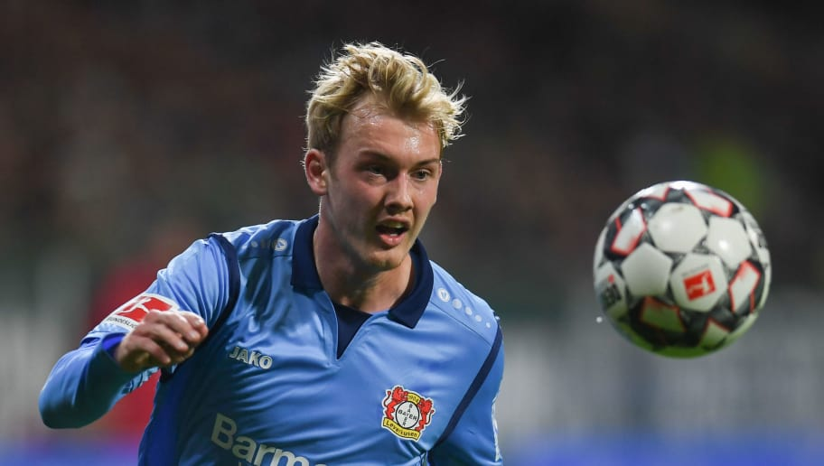 Leverkusen's German midfielder Julian Brandt plays the ball during the German first division Bundesliga football match Werder Bremen vs Bayer 04 Leverkusen in Bremen, nothern Germany, on October 28, 2018. (Photo by Patrik STOLLARZ / AFP) / RESTRICTIONS: DFL REGULATIONS PROHIBIT ANY USE OF PHOTOGRAPHS AS IMAGE SEQUENCES AND/OR QUASI-VIDEO        (Photo credit should read PATRIK STOLLARZ/AFP/Getty Images)