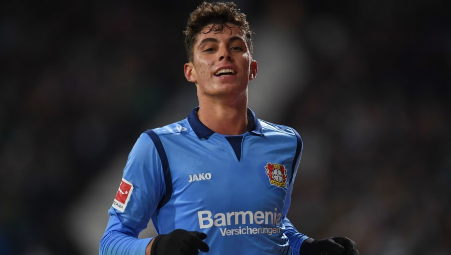 Leverkusen's German midfielder Kai Havertz celebrates during the German first division Bundesliga football match Werder Bremen vs Bayer 04 Leverkusen in Bremen, nothern Germany, on October 28, 2018. (Photo by Patrik STOLLARZ / AFP) / RESTRICTIONS: DFL REGULATIONS PROHIBIT ANY USE OF PHOTOGRAPHS AS IMAGE SEQUENCES AND/OR QUASI-VIDEO        (Photo credit should read PATRIK STOLLARZ/AFP/Getty Images)