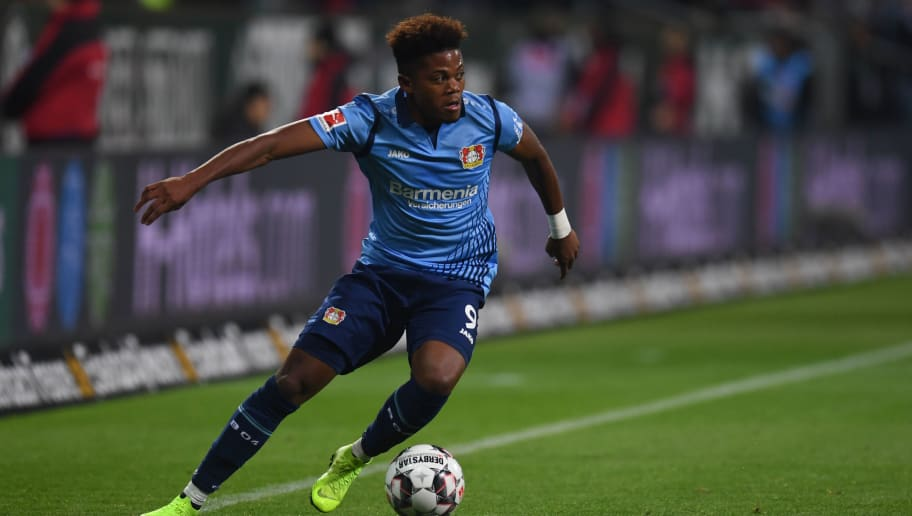 Leverkusen's Jamaican midfielder Leon Bailey controls the ball during the German first division Bundesliga football match Werder Bremen vs Bayer 04 Leverkusen in Bremen, nothern Germany, on October 28, 2018. (Photo by Patrik STOLLARZ / AFP) / RESTRICTIONS: DFL REGULATIONS PROHIBIT ANY USE OF PHOTOGRAPHS AS IMAGE SEQUENCES AND/OR QUASI-VIDEO        (Photo credit should read PATRIK STOLLARZ/AFP/Getty Images)