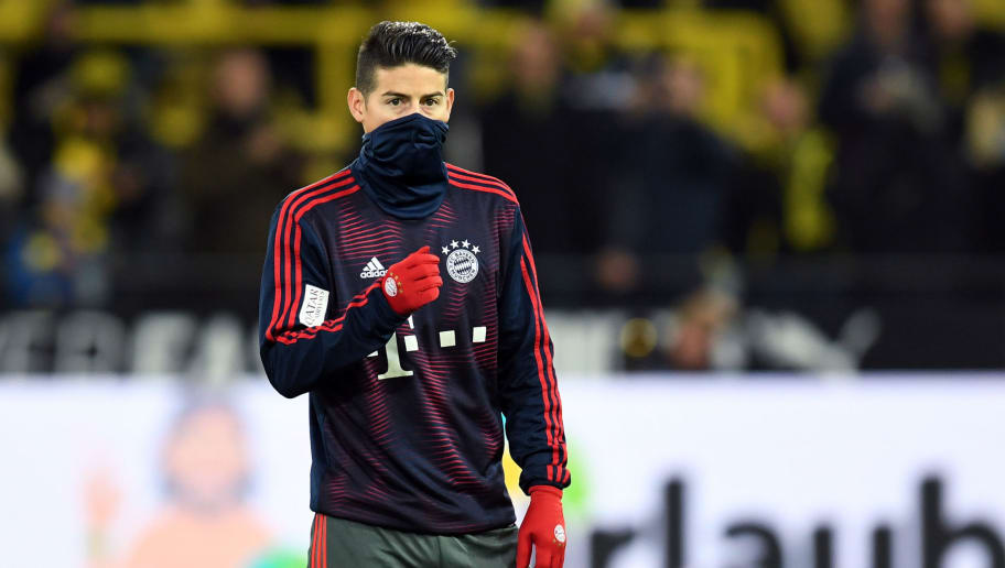 Bayern Munich's Colombian James Rodriguez attends the warm up prior the German first division Bundesliga football match BVB Borussia Dortmund v FC Bayern Munich in Dortmund, western Germany, on November 10, 2018. (Photo by Christof STACHE / AFP)        (Photo credit should read CHRISTOF STACHE/AFP/Getty Images)