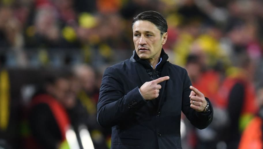 Bayern Munich's Croatian headcoach Niko Kovac reacts during the German first division Bundesliga football match BVB Borussia Dortmund v FC Bayern Munich in Dortmund, western Germany, on November 10, 2018. (Photo by Christof STACHE / AFP) / RESTRICTIONS: DFL REGULATIONS PROHIBIT ANY USE OF PHOTOGRAPHS AS IMAGE SEQUENCES AND/OR QUASI-VIDEO        (Photo credit should read CHRISTOF STACHE/AFP/Getty Images)