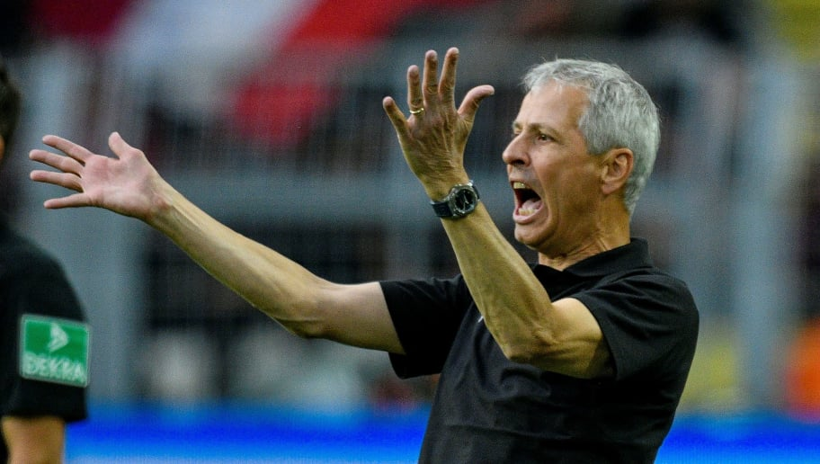 Dortmund's head coach Lucien Favre reacts during the German first division Bundesliga football match Borussia Dortmund v RB Leipzig in Dortmund, western Germany, on August 26, 2018. (Photo by SASCHA SCHUERMANN / AFP) / RESTRICTIONS: DFL REGULATIONS PROHIBIT ANY USE OF PHOTOGRAPHS AS IMAGE SEQUENCES AND/OR QUASI-VIDEO        (Photo credit should read SASCHA SCHUERMANN/AFP/Getty Images)