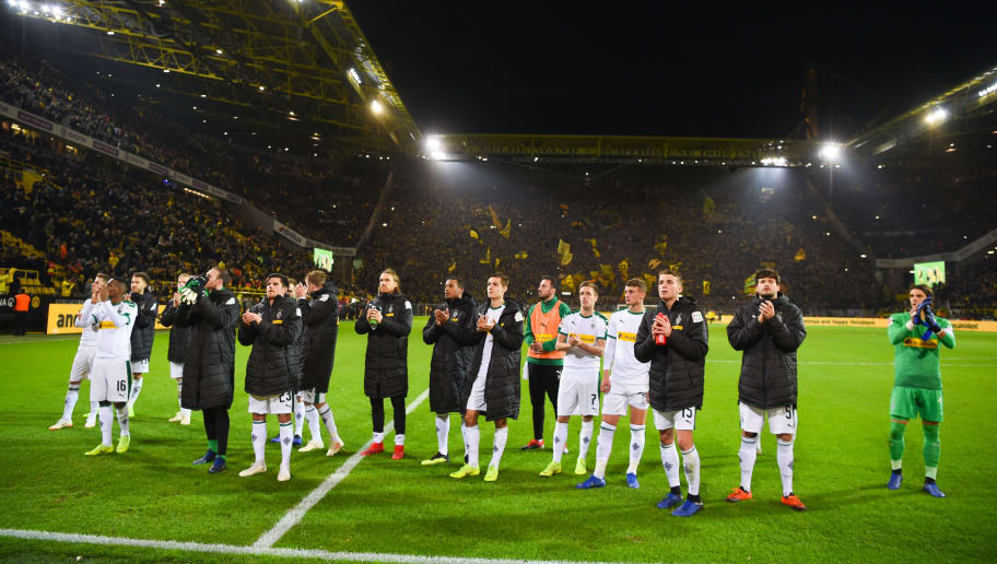 Moenchengladbach's players react after the German First division Bundesliga football match between Borussia Dortmund and Borussia Moenchengladbach in Dortmund, western Germany, on December 21, 2018. (Photo by Patrik STOLLARZ / AFP) / DFL REGULATIONS PROHIBIT ANY USE OF PHOTOGRAPHS AS IMAGE SEQUENCES AND/OR QUASI-VIDEO        (Photo credit should read PATRIK STOLLARZ/AFP/Getty Images)