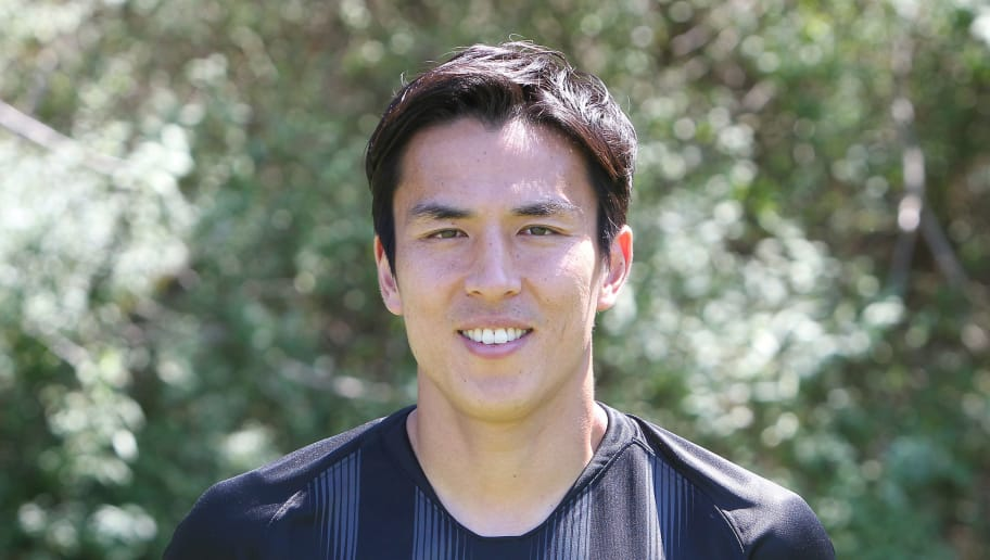 Makoto Hasebe of the German First division Bundesliga football team Eintracht Frankfurt poses for a photo during the team presentation in Frankfurt, Germany, on July 26, 2018. (Photo by Daniel ROLAND / AFP)        (Photo credit should read DANIEL ROLAND/AFP/Getty Images)