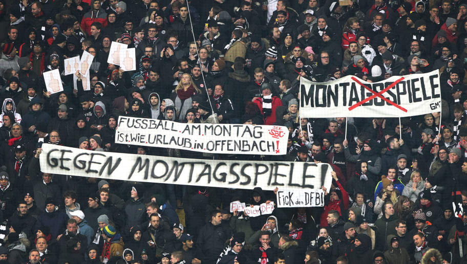 Frankfurt's fans protest against scheduling football games on mondays (Montagsspiele) during the German First division Bundesliga football match Eintracht Frankfurt vs RB Leipzig in Frankfurt, Germany, on February 19, 2018. / AFP PHOTO / Daniel ROLAND / RESTRICTIONS: DURING MATCH TIME: DFL RULES TO LIMIT THE ONLINE USAGE TO 15 PICTURES PER MATCH AND FORBID IMAGE SEQUENCES TO SIMULATE VIDEO. == RESTRICTED TO EDITORIAL USE == FOR FURTHER QUERIES PLEASE CONTACT DFL DIRECTLY AT + 49 69 650050         (Photo credit should read DANIEL ROLAND/AFP/Getty Images)