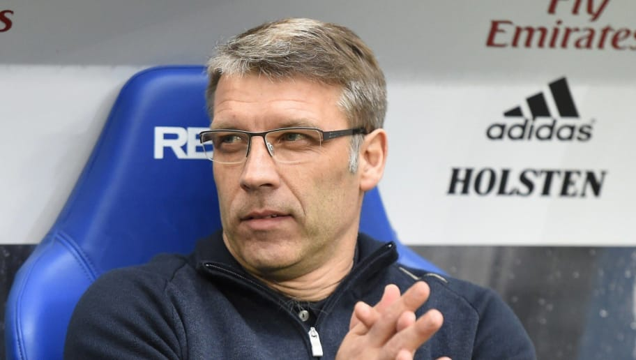 Hamburgs team coach Peter Knaebel is pictured prio to the start of the German first division Bundesliga football match Hamburger SV vs VfL Wolfsburg in Hamburg, northern Germany, on April 11, 2015. AFP PHOTO / TOBIAS SCHWARZ   RESTRICTIONS - DFL RULES TO LIMIT THE ONLINE USAGE DURING MATCH TIME TO 15 PICTURES PER MATCH. IMAGE SEQUENCES TO SIMULATE VIDEO IS NOT ALLOWED AT ANY TIME. FOR FURTHER QUERIES PLEASE CONTACT DFL DIRECTLY AT + 49 69 650050.        (Photo credit should read TOBIAS SCHWARZ/AFP/Getty Images)