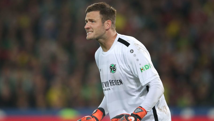 Hanover's German goalkeeper Michael Esser reacts during the German first division Bundesliga football match Hannover 96 vs Borussia Dortmund in Hanover, northern Germany, on August 31, 2018. (Photo by Ronny Hartmann / AFP) / RESTRICTIONS: DFL REGULATIONS PROHIBIT ANY USE OF PHOTOGRAPHS AS IMAGE SEQUENCES AND/OR QUASI-VIDEO        (Photo credit should read RONNY HARTMANN/AFP/Getty Images)