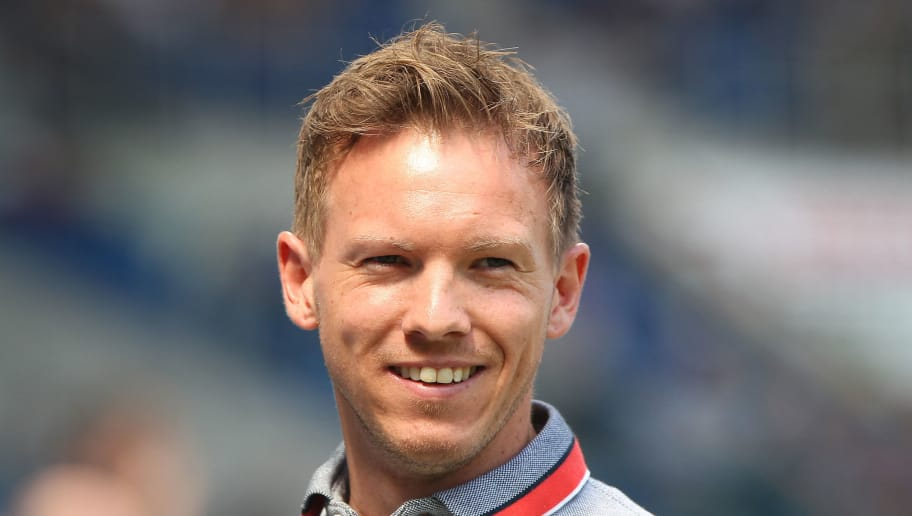 Hoffenheim's German head coach Julian Nagelsmann is pictured prior to the German first division Bundesliga football match TSG 1899 Hoffenheim vs Borussia Dortmund in Sinsheim, southern Germany, on May 12, 2018. (Photo by Amelie QUERFURTH / AFP) / RESTRICTIONS: DURING MATCH TIME: DFL RULES TO LIMIT THE ONLINE USAGE TO 15 PICTURES PER MATCH AND FORBID IMAGE SEQUENCES TO SIMULATE VIDEO. == RESTRICTED TO EDITORIAL USE == FOR FURTHER QUERIES PLEASE CONTACT DFL DIRECTLY AT + 49 69 650050        (Photo credit should read AMELIE QUERFURTH/AFP/Getty Images)