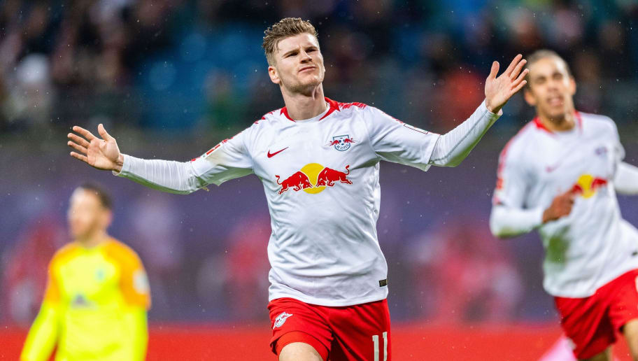 Leipzig´s forward Timo Werner celebrates scoring during the German first division Bundesliga football match between RB Leipzig and Werder Bremen in Leipzig, eastern Germany on December 22, 2018. (Photo by ROBERT MICHAEL / AFP) / RESTRICTIONS: DFL REGULATIONS PROHIBIT ANY USE OF PHOTOGRAPHS AS IMAGE SEQUENCES AND/OR QUASI-VIDEO        (Photo credit should read ROBERT MICHAEL/AFP/Getty Images)