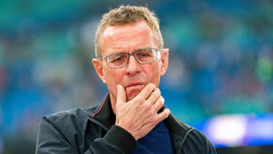Leipzig's German headcoach Ralf Rangnick is pictured prior to the German first division Bundesliga football match RB Leipzig vs Fortuna Duesseldorf in Leipzig, eastern Germany, on September 2, 2018. (Photo by ROBERT MICHAEL / AFP) / RESTRICTIONS: DFL REGULATIONS PROHIBIT ANY USE OF PHOTOGRAPHS AS IMAGE SEQUENCES AND/OR QUASI-VIDEO        (Photo credit should read ROBERT MICHAEL/AFP/Getty Images)