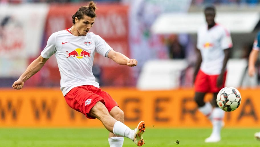 Leipzig´s Austrian forward Marcel Sabitzer plays the ball during the German first division Bundesliga football match RB Leipzig vs Fortuna Duesseldorf in Leipzig, eastern Germany, on September 2, 2018. (Photo by ROBERT MICHAEL / AFP) / RESTRICTIONS: DFL REGULATIONS PROHIBIT ANY USE OF PHOTOGRAPHS AS IMAGE SEQUENCES AND/OR QUASI-VIDEO        (Photo credit should read ROBERT MICHAEL/AFP/Getty Images)